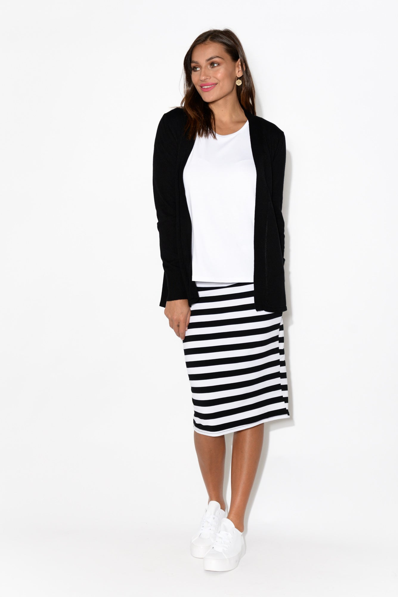 Lois Black Stripe Bamboo Skirt