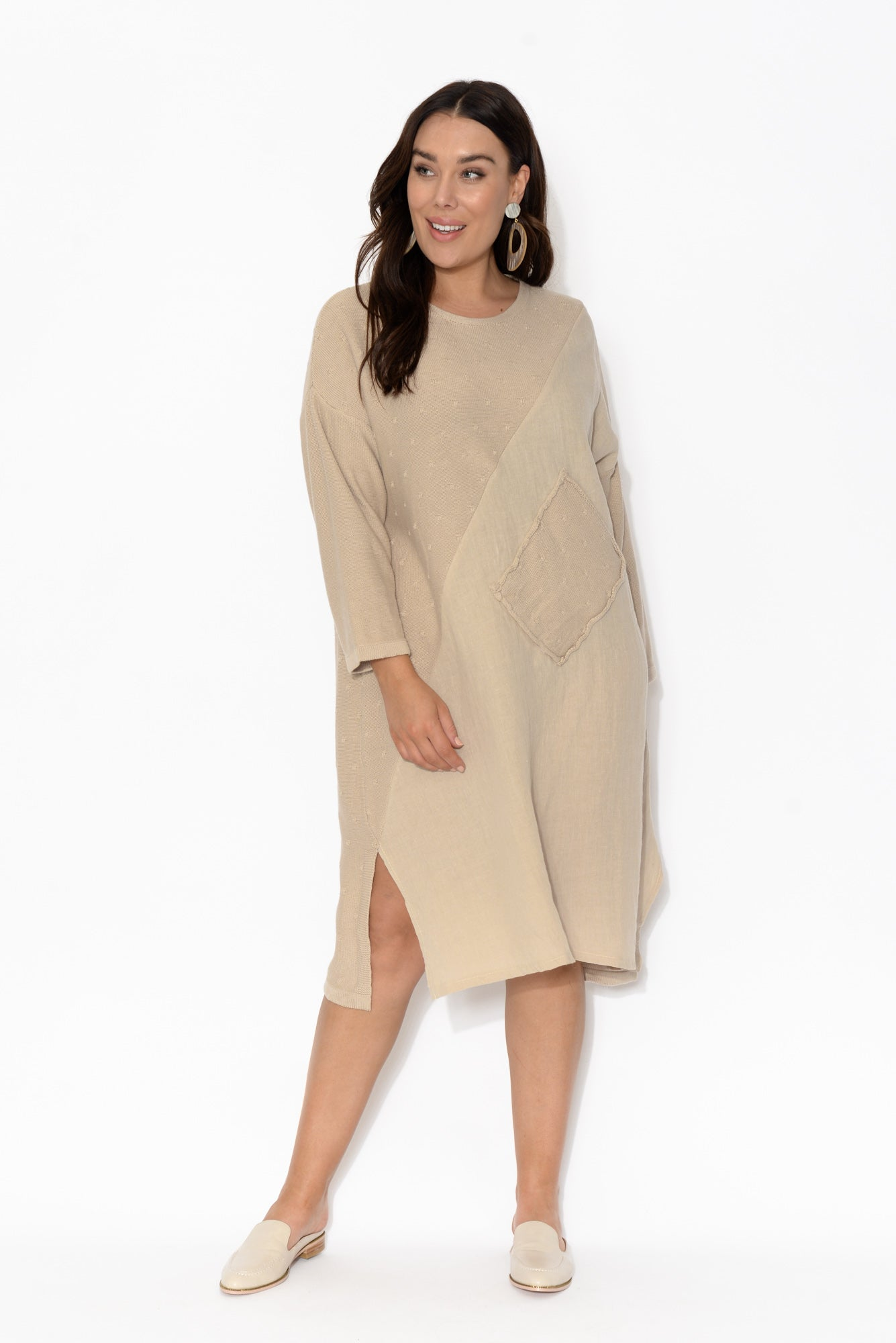 Calais Taupe Long Sleeve Tunic Dress