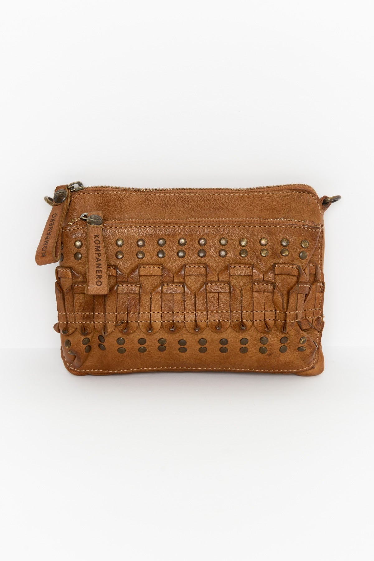 Calita Tobacco Leather Clutch