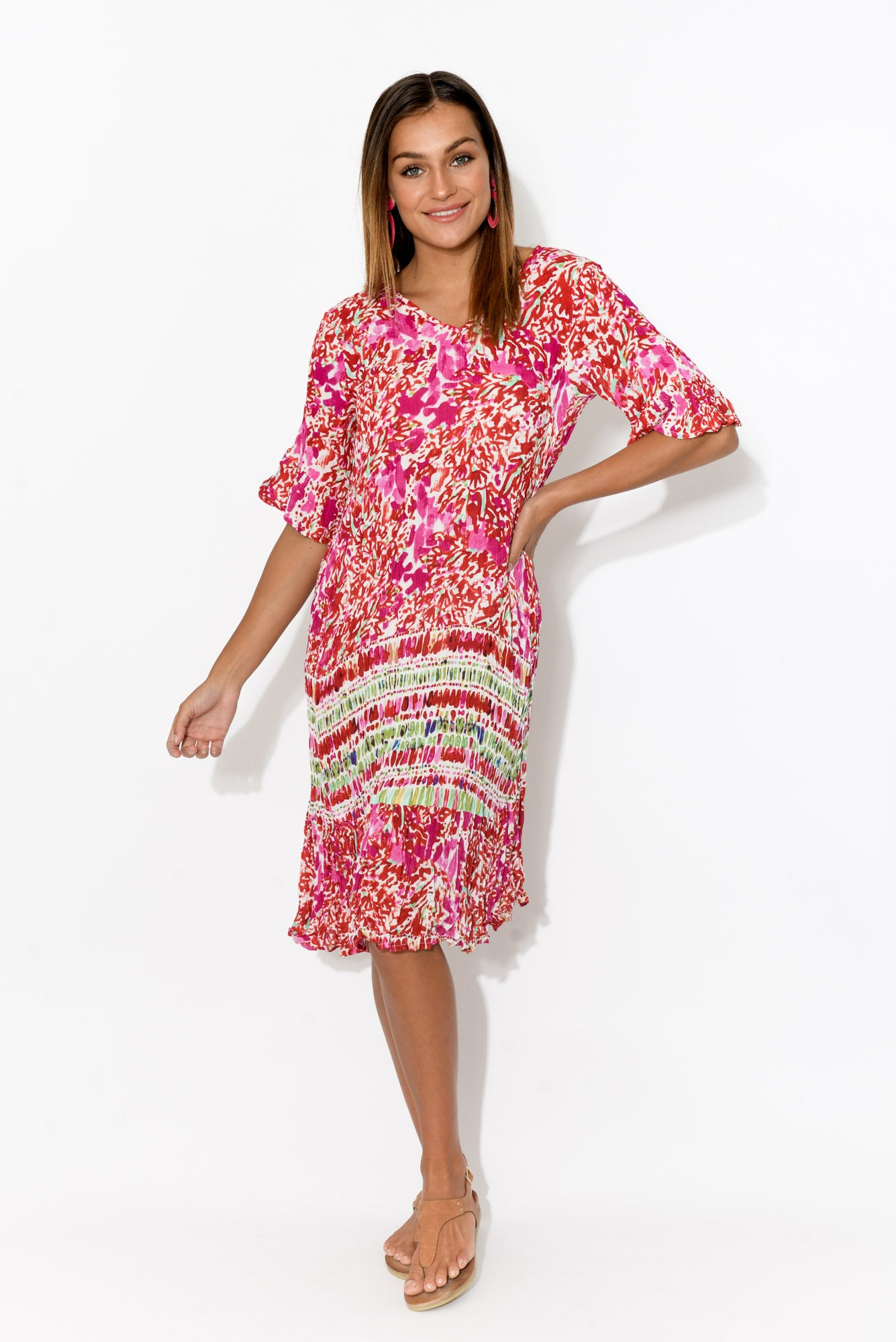 Calla Pink Abstract Crinkle Dress