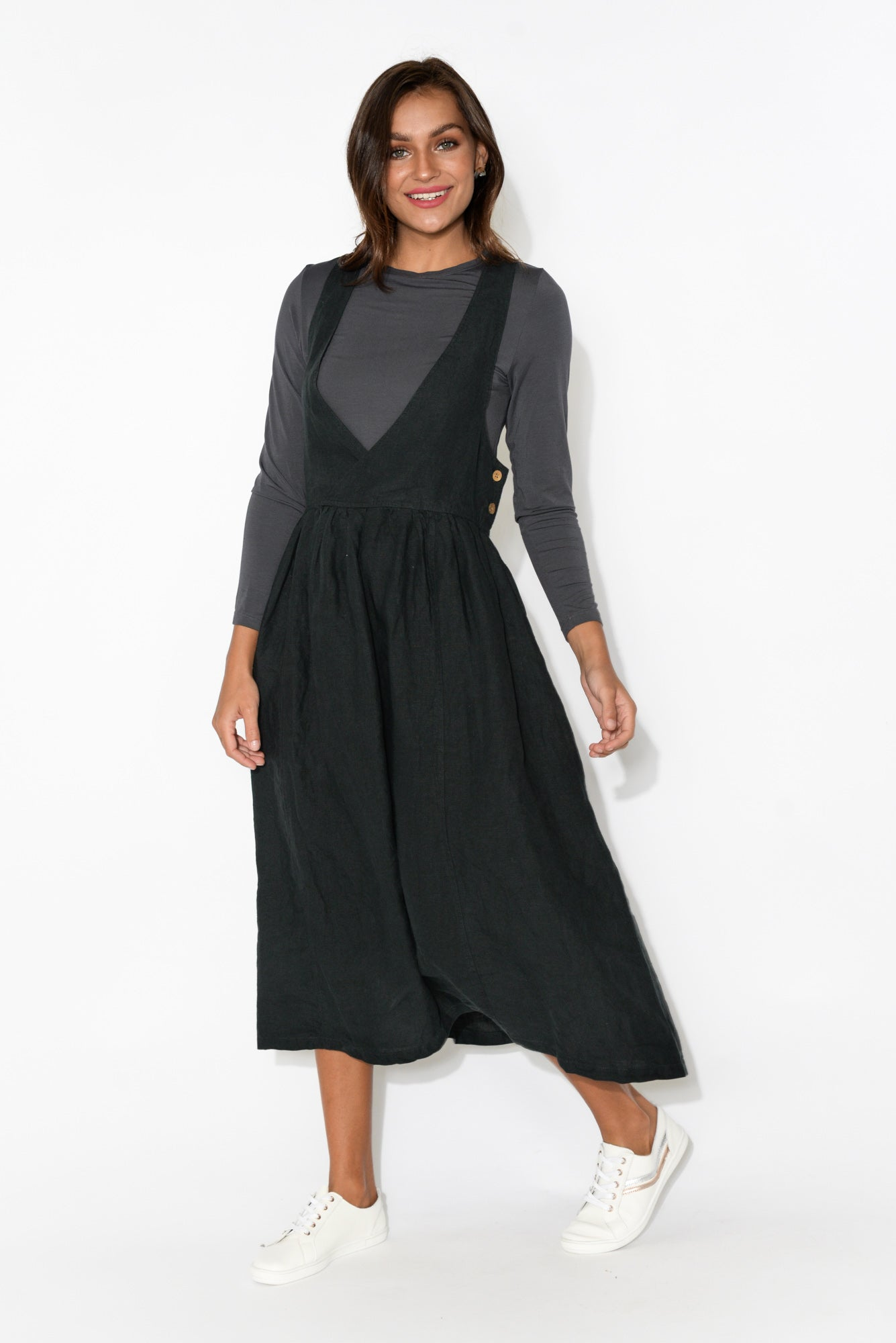 Callie Black Linen Pinafore Dress