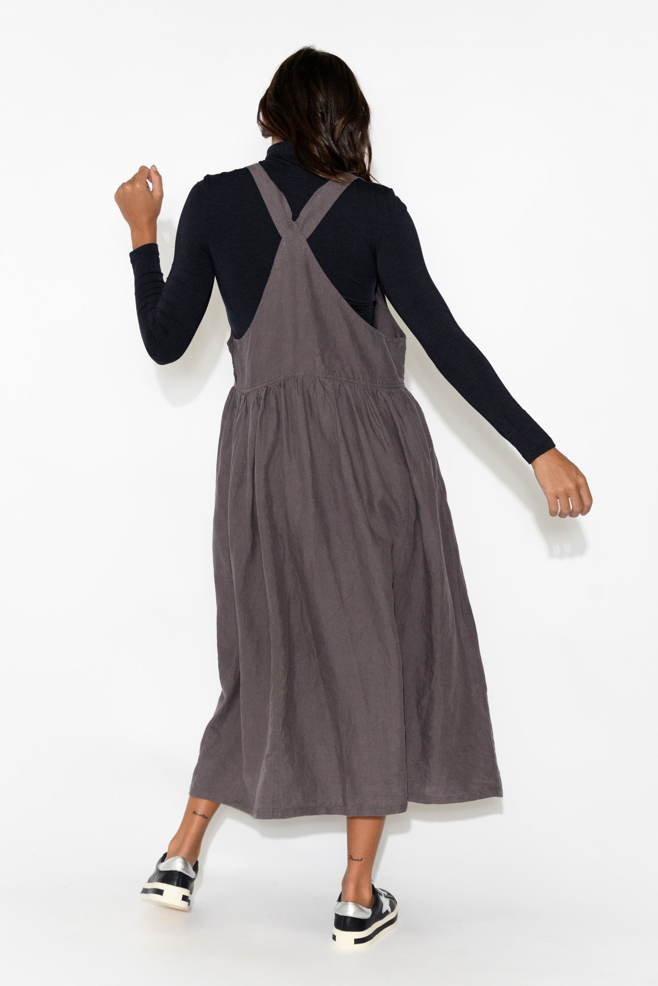 Callie Eggplant Linen Pinafore Dress