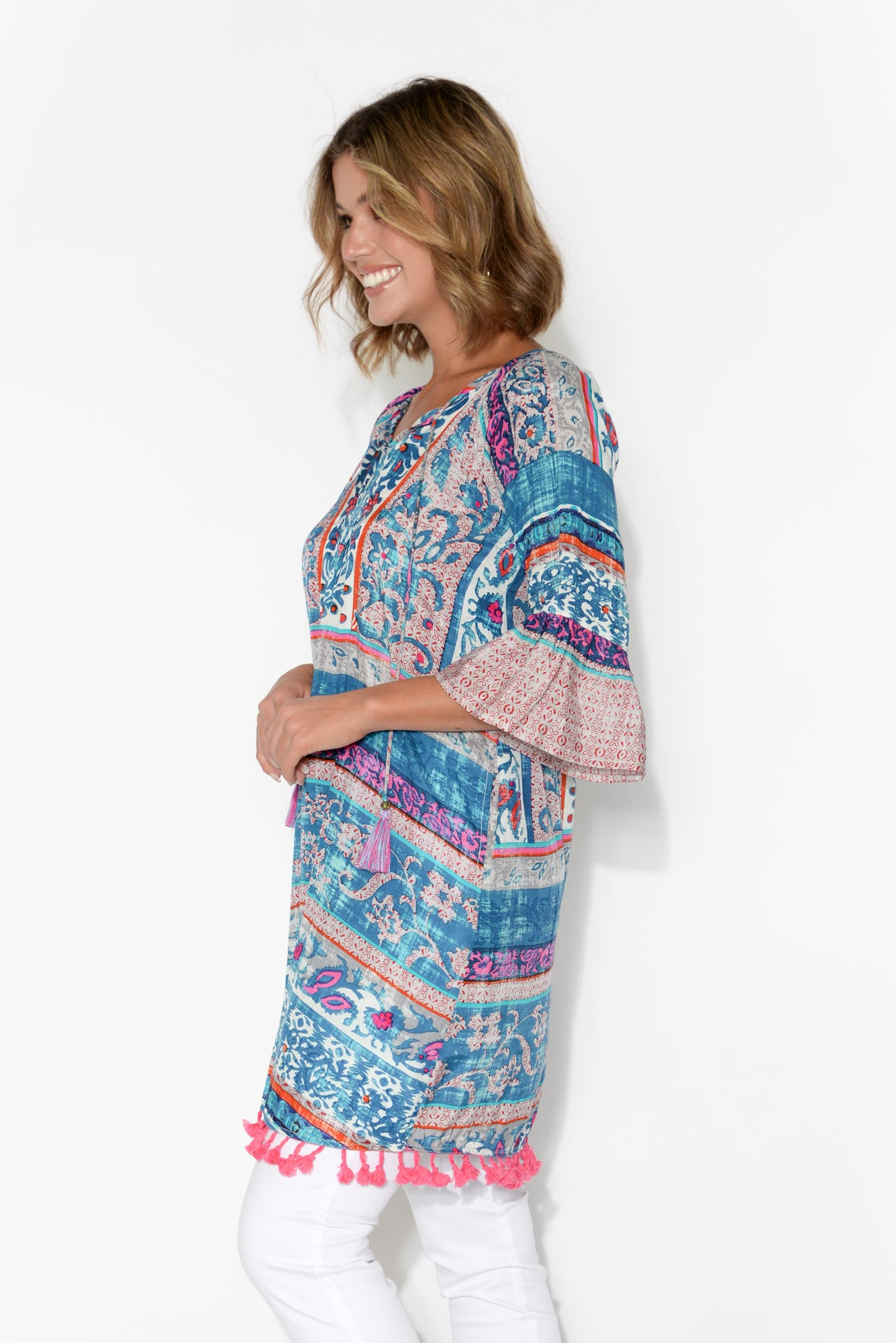 Callista 3/4 Sleeve Blue Floral Aztec Dress