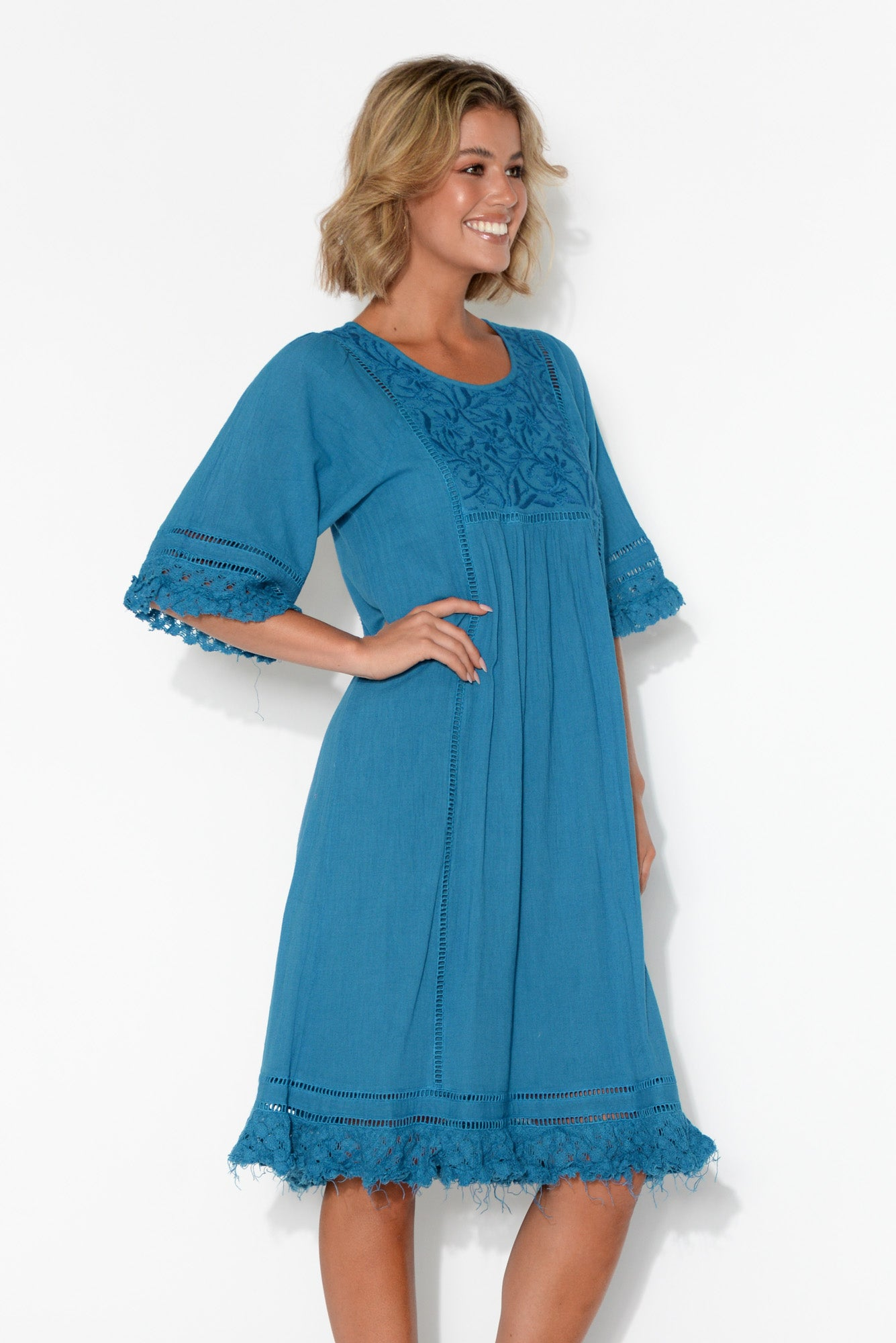 Candace Blue Crochet Cotton Dress