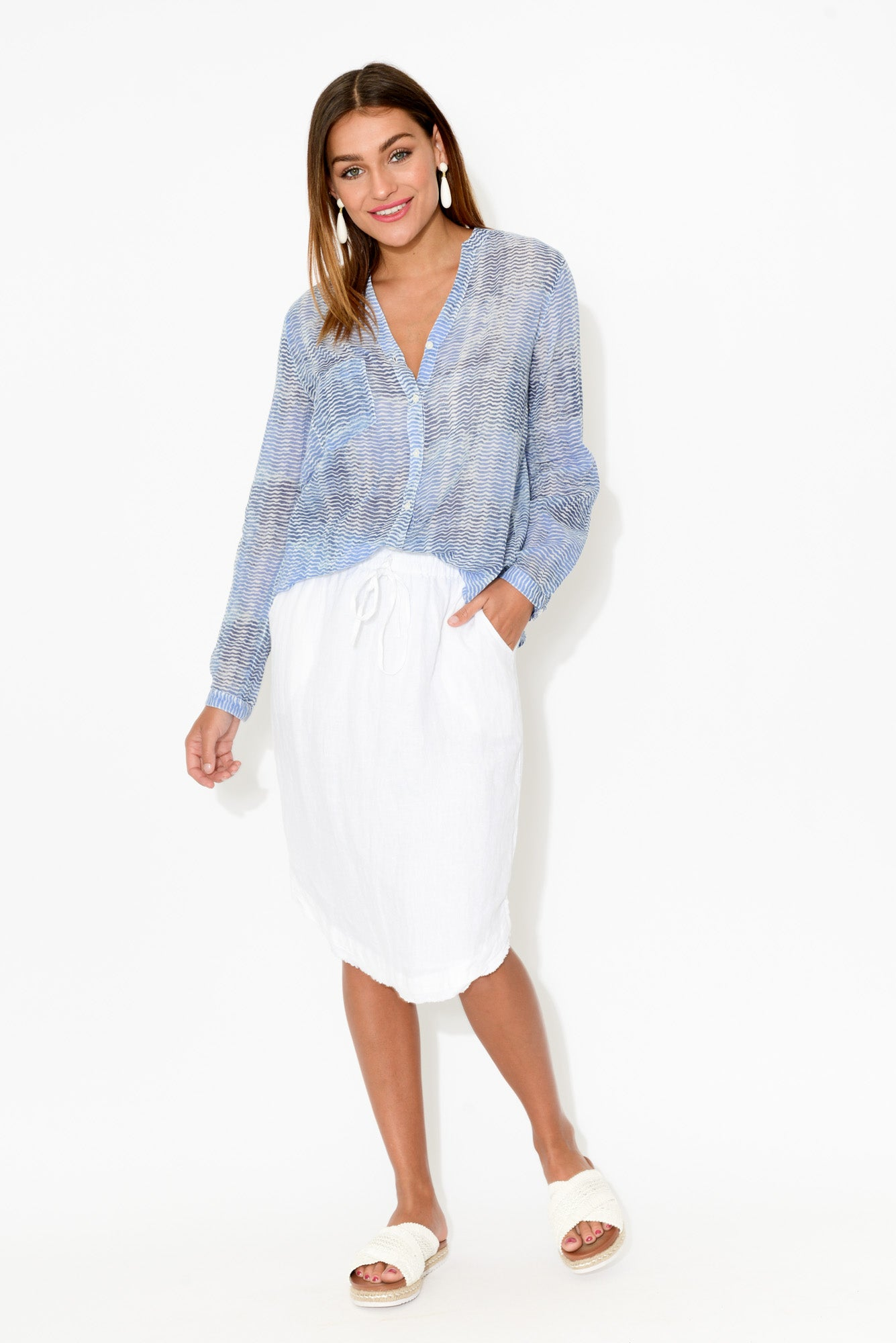 Caprice Blue Waves Cotton Shirt