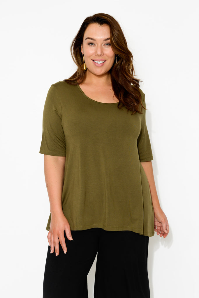 Carter Olive Bamboo Tunic Top