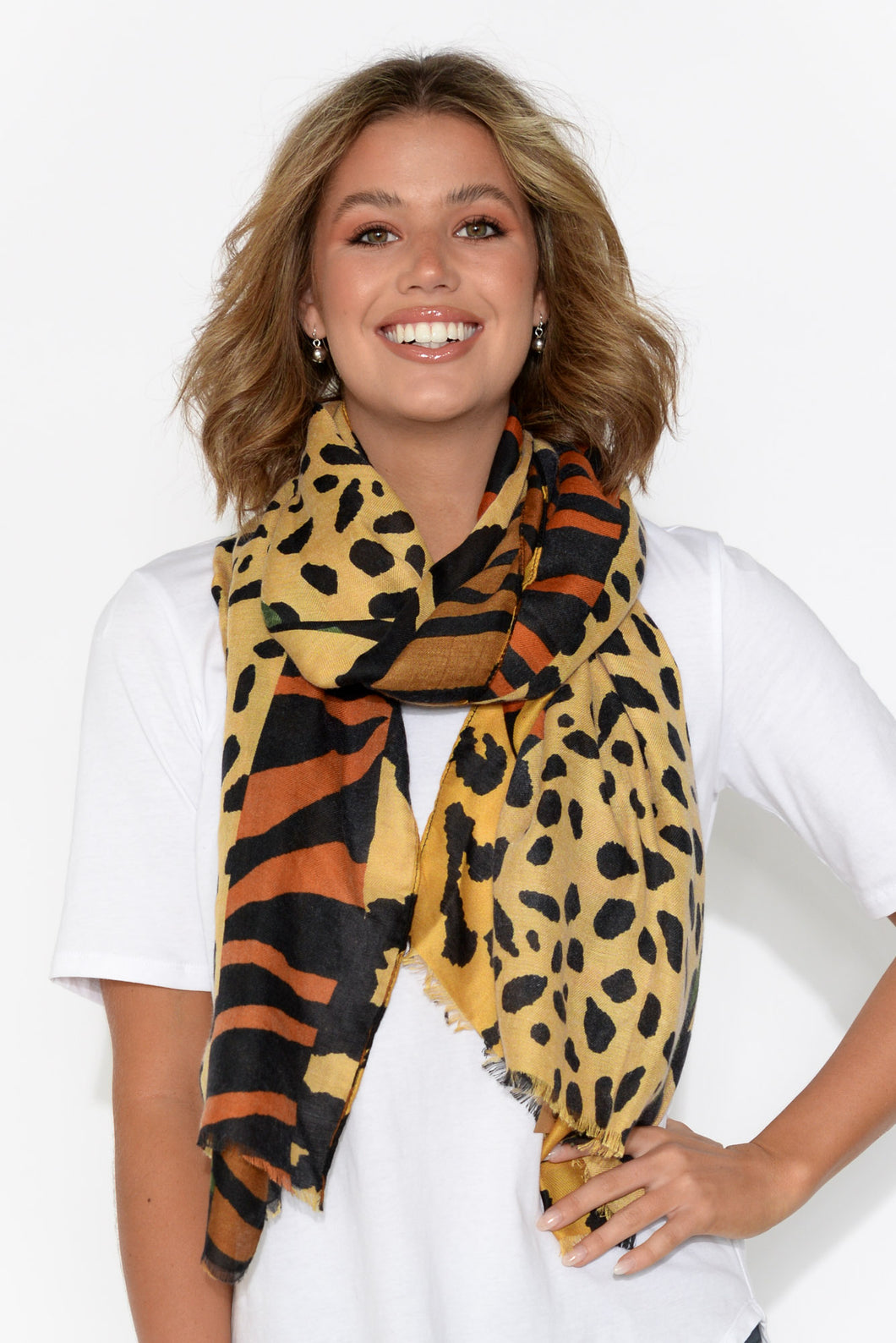 Casey Orange Abstract Leopard Scarf