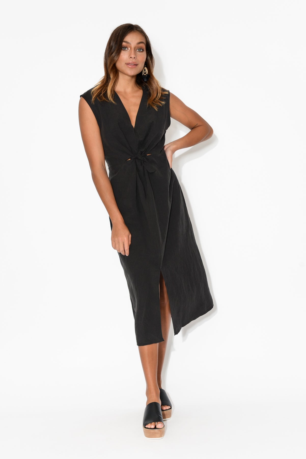 Cassie Black Tie Midi Dress