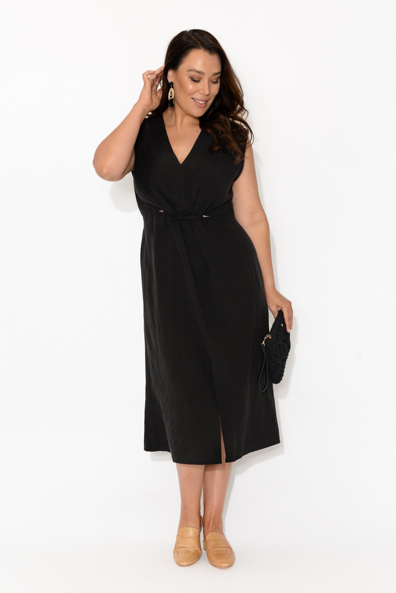 Luna Black Tie Midi Dress