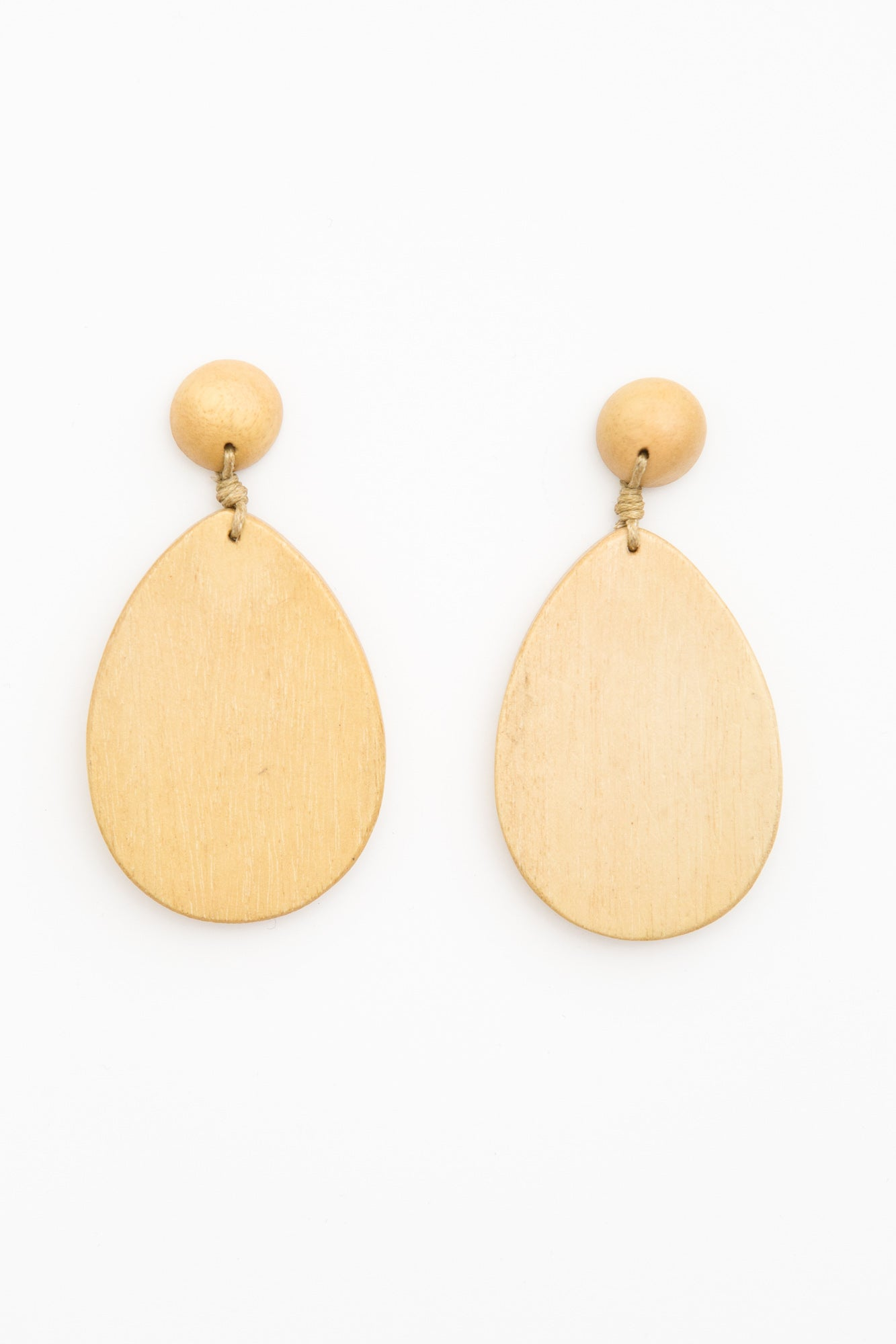 Cayman Tan Wood Teardrop Earring