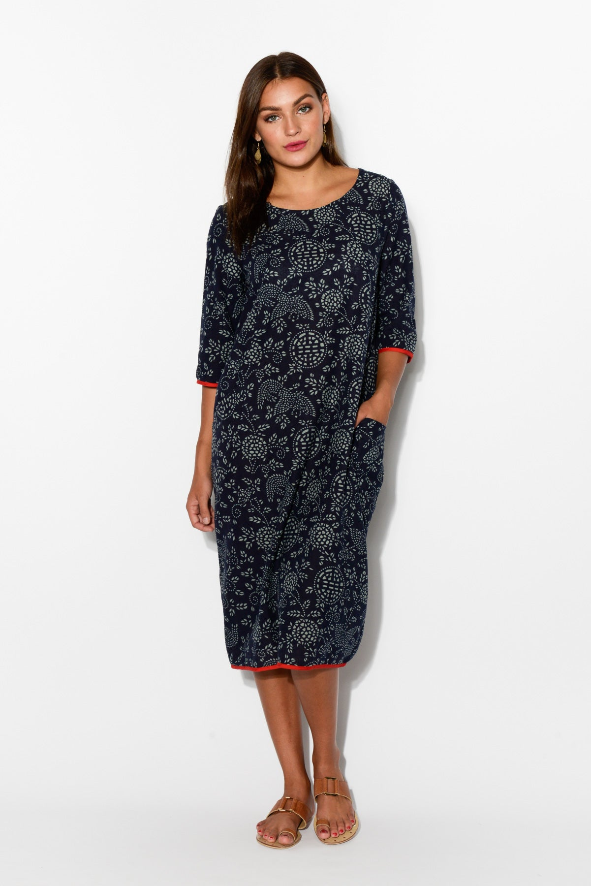Celia Navy Linen Dress - Blue Bungalow