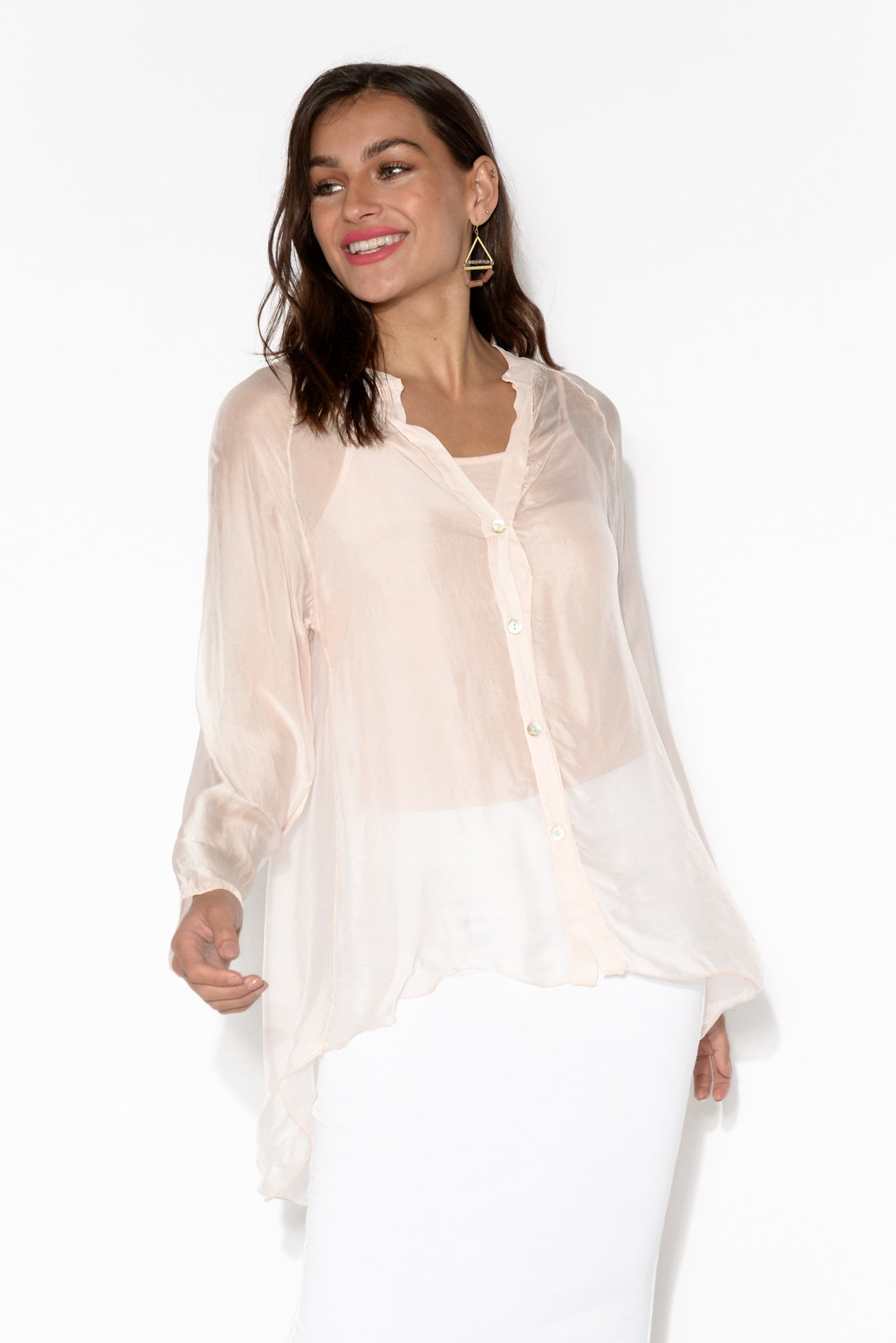 Chania Light Pink Hi Lo Blouse