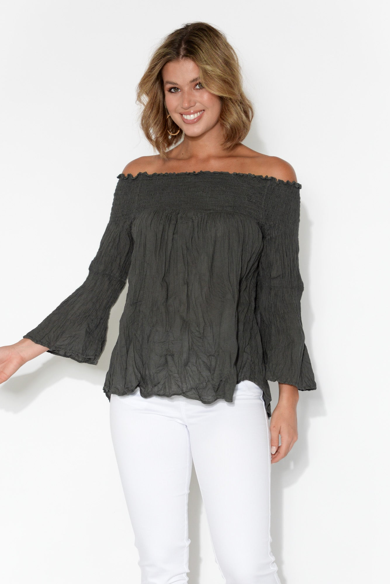 Charcoal Off Shoulder Crinkle Cotton Top