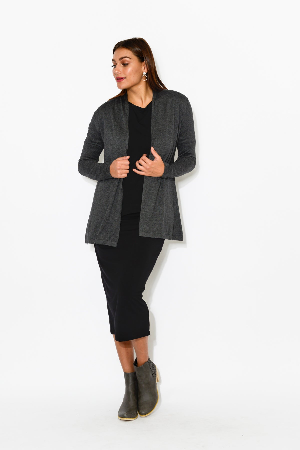 Charcoal Bamboo Wool Knit Cardigan - Blue Bungalow