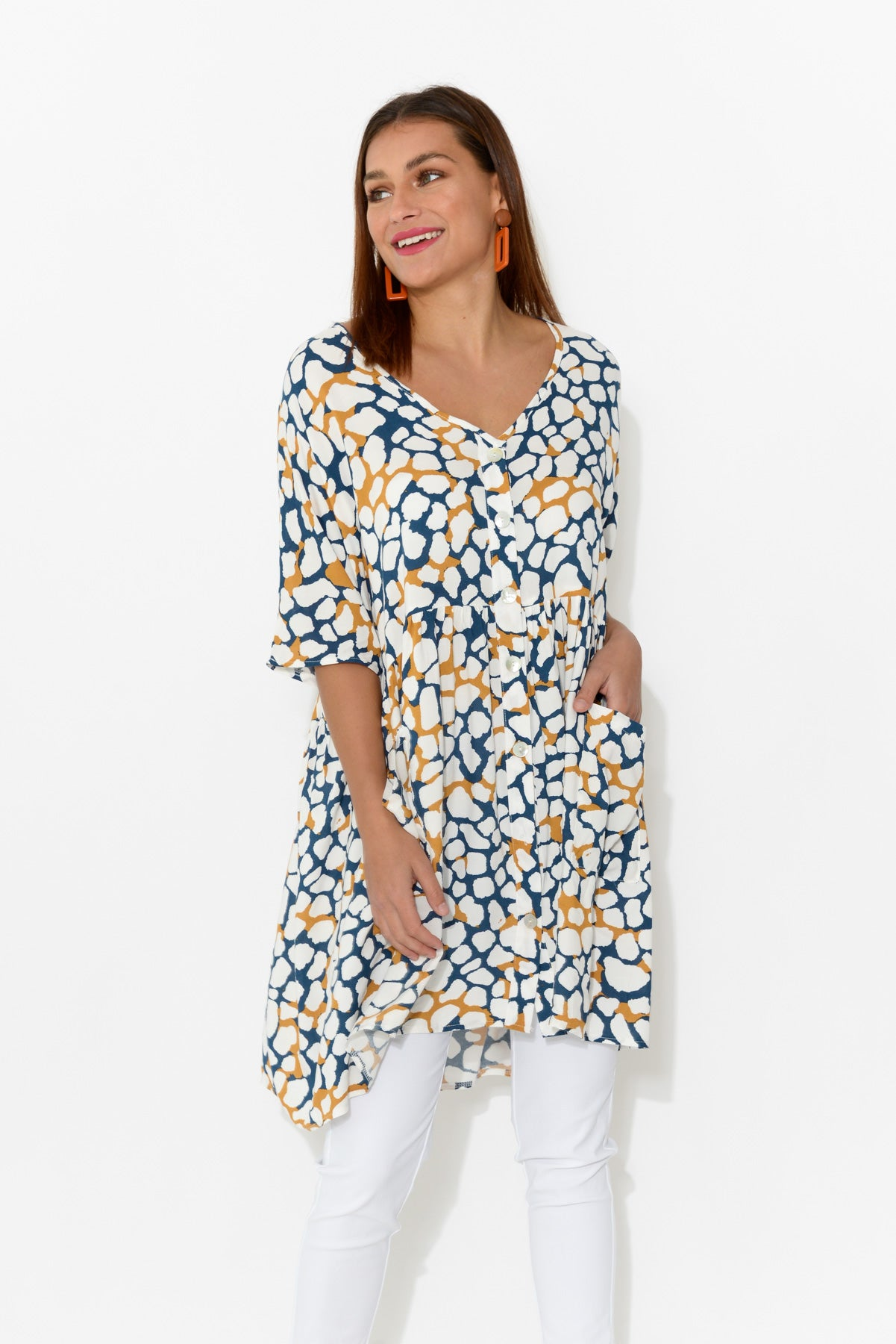 Charlie Spotty Pocket Tunic - Blue Bungalow
