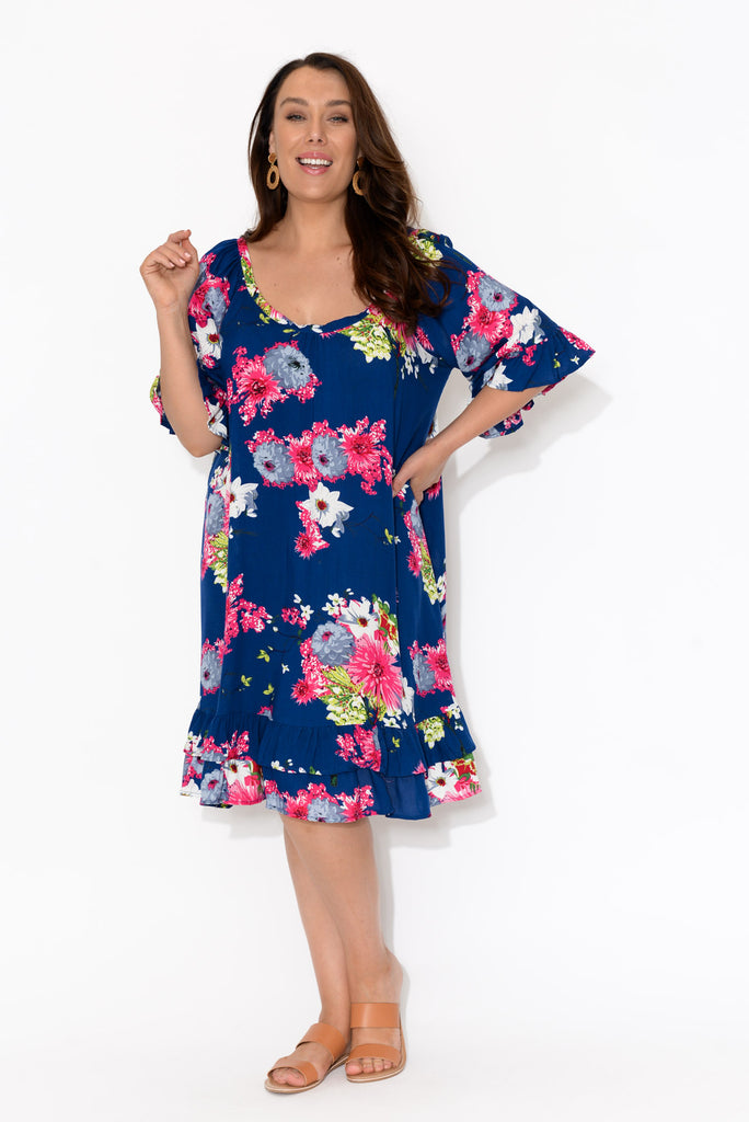 Charlotte Navy Sakura Ruffle Dress