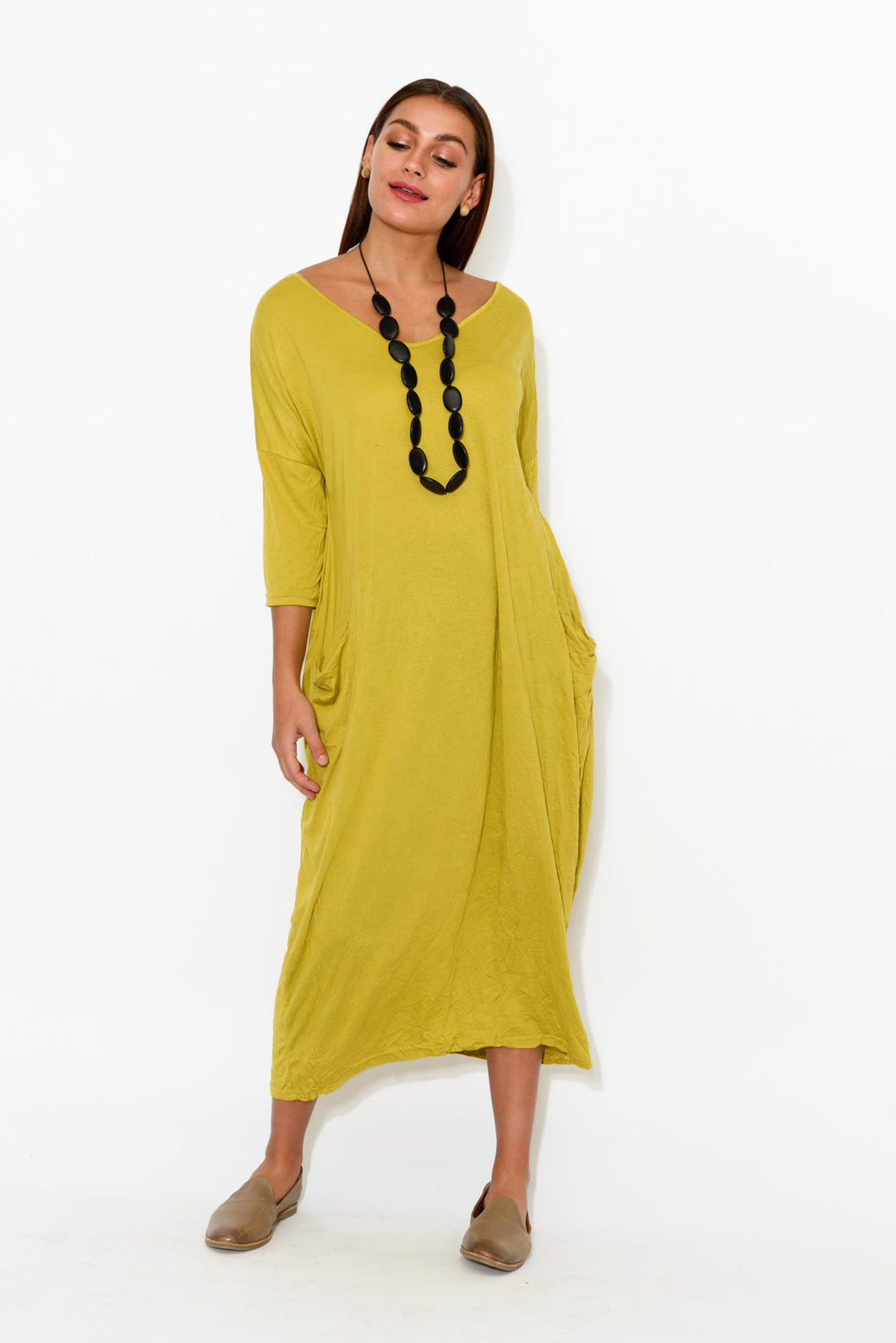 Chartreuse Sleeved Pocket Cotton Dress - Blue Bungalow