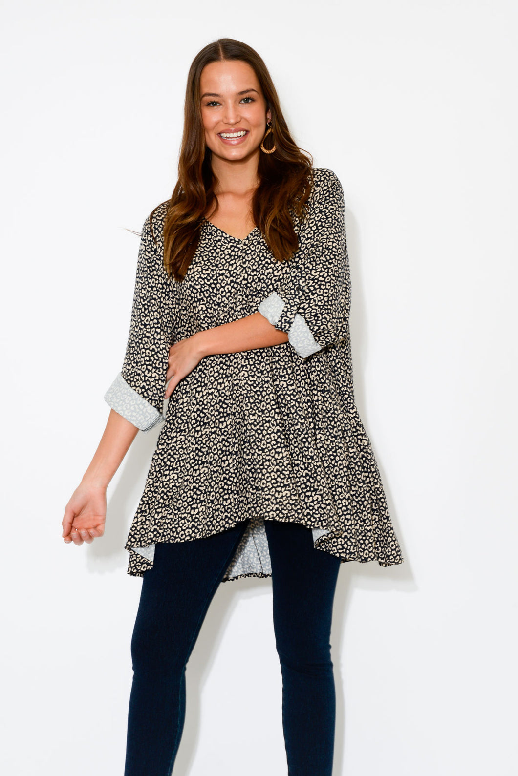 Cheetah Sleeved Peak Top - Blue Bungalow