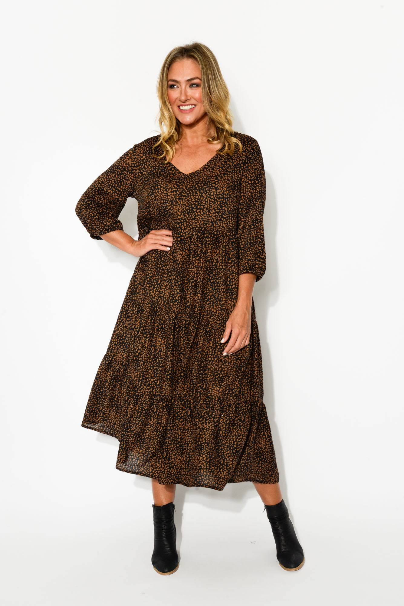 Cheetah Sleeved Tier Dress - Blue Bungalow