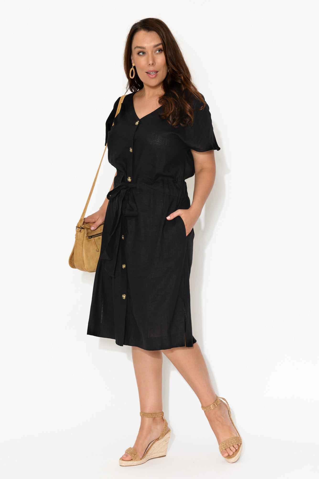 Chloe Black Button Midi Dress