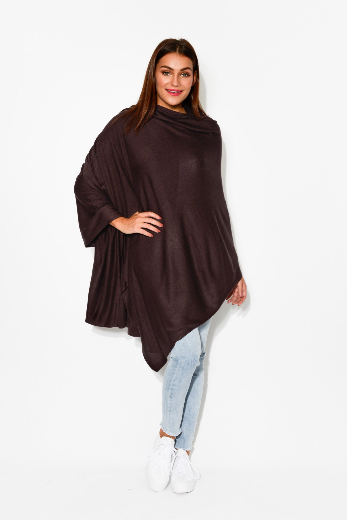 Mya Chocolate Bamboo Cashmere Knit Wrap - Blue Bungalow