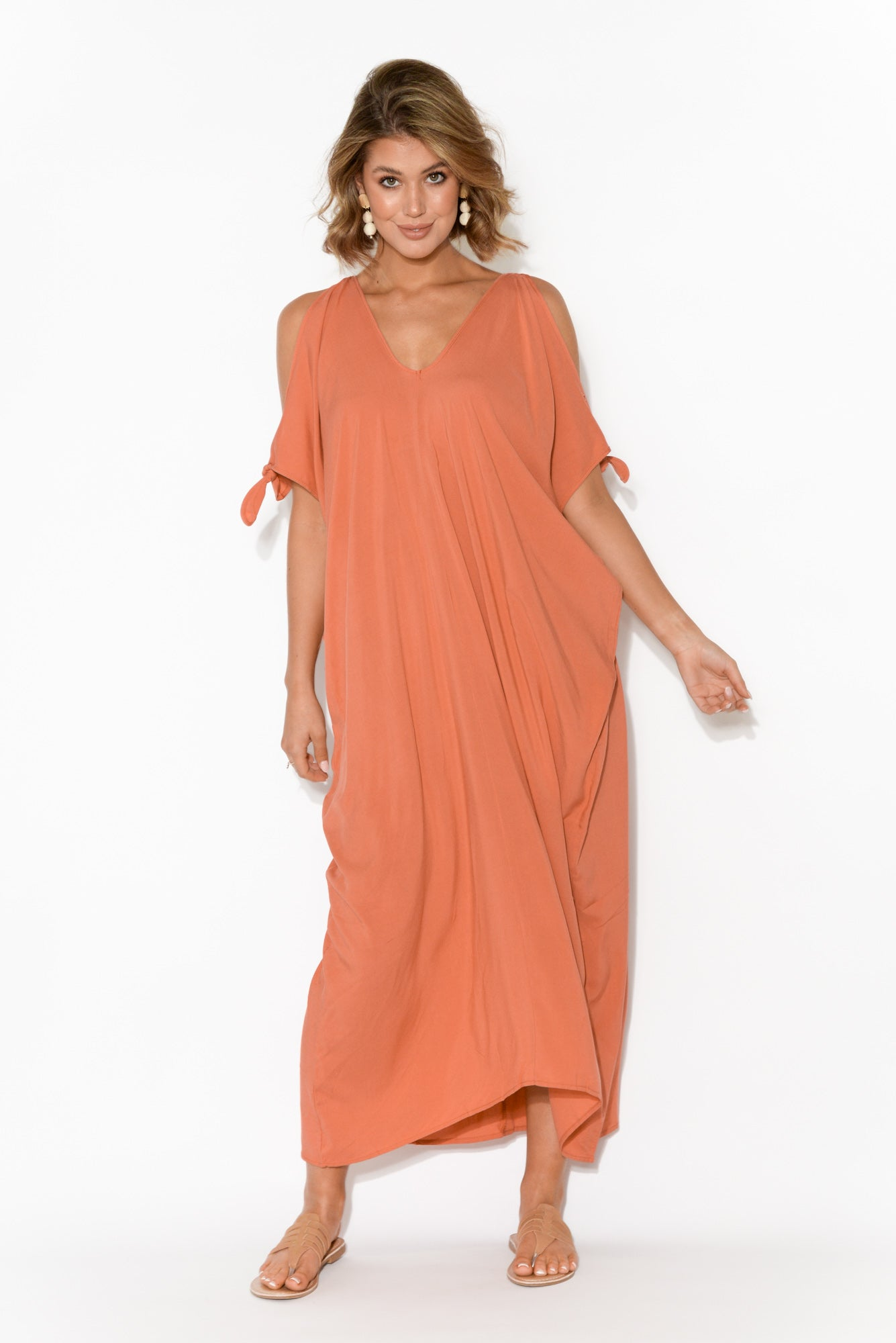 Christine Coral Cold Shoulder Kaftan