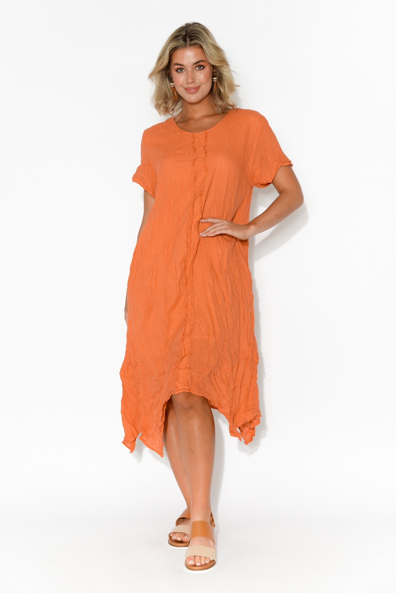 Claire Orange Crinkle Cotton Dress