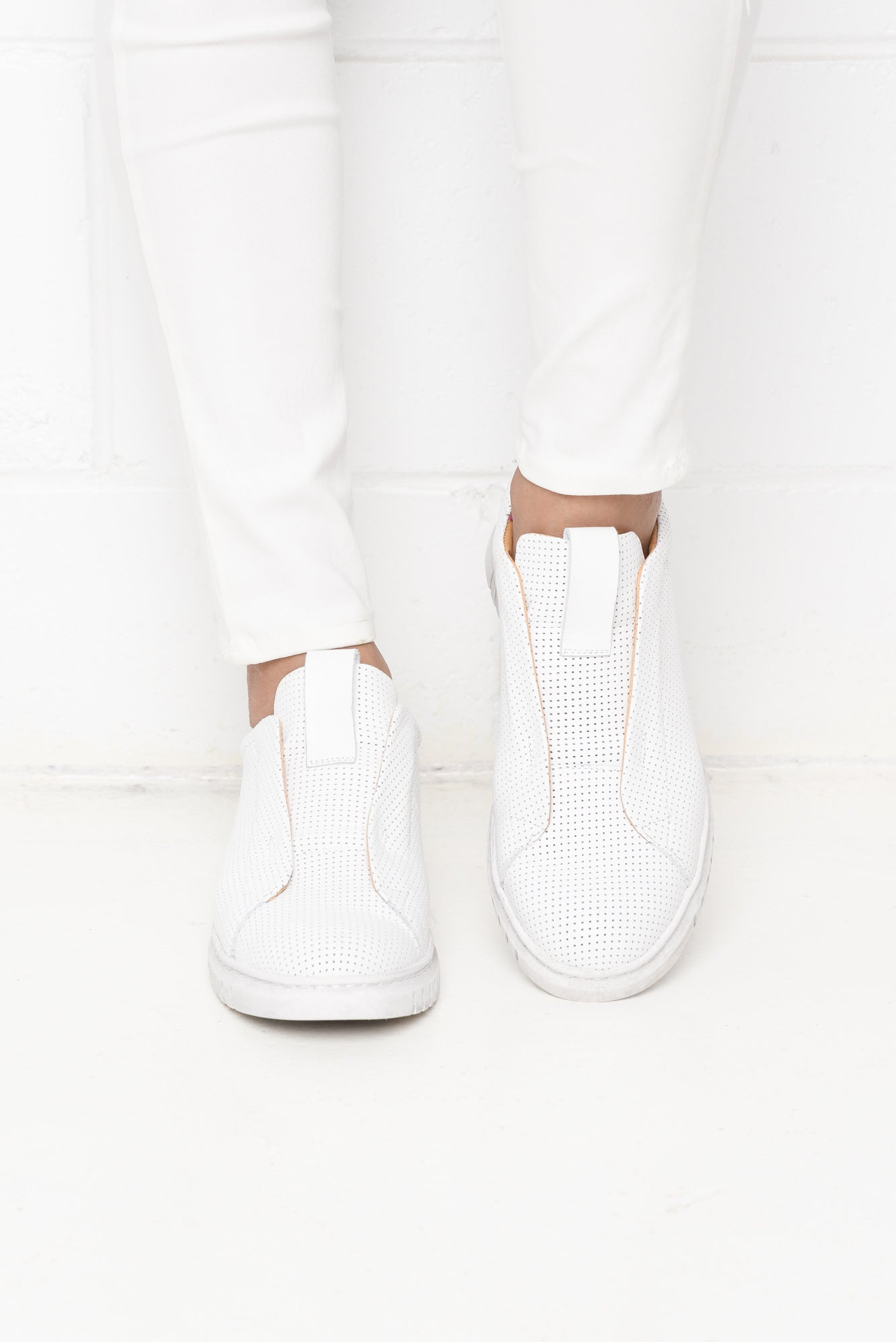 Clairie White Leather Jogger