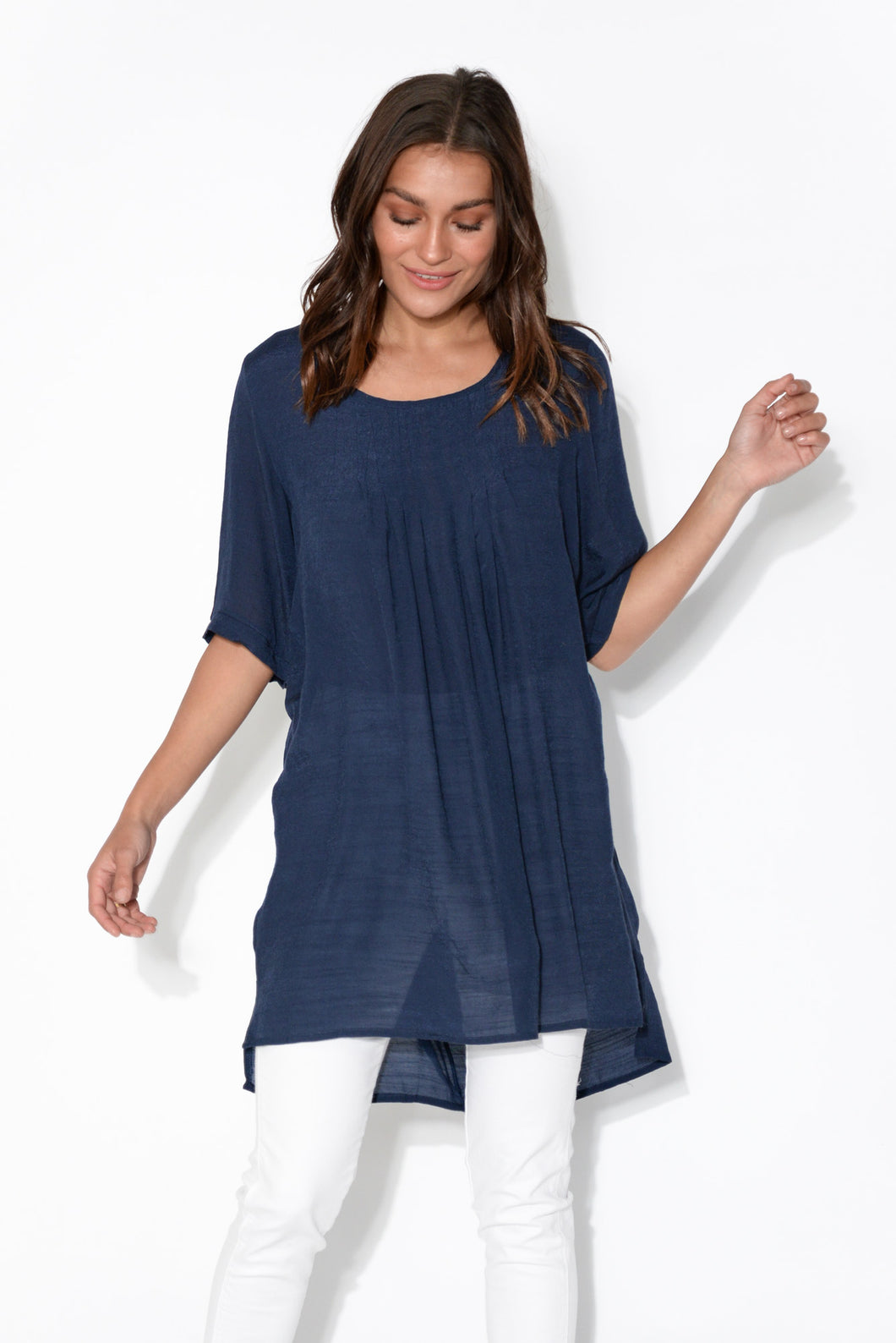 Clara Navy Hi Lo Oversized Top