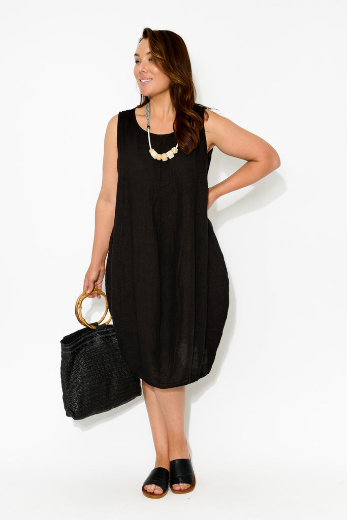 Claudine Black Linen Dress