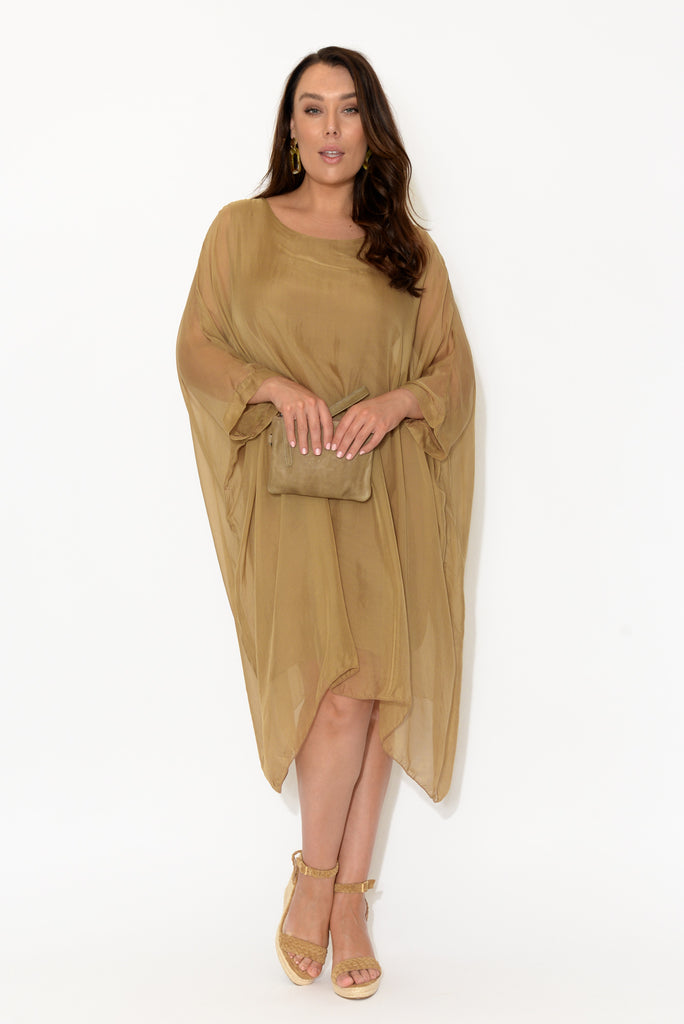 Clio Camel Silk Layer Dress