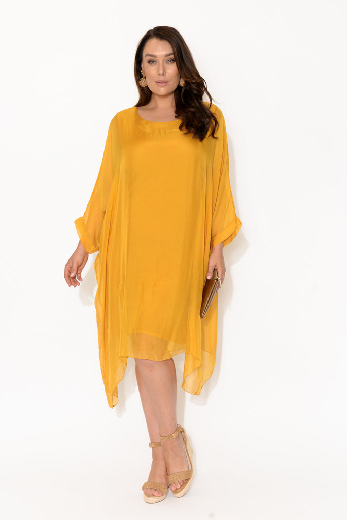 Clio Gold Silk Layer Dress