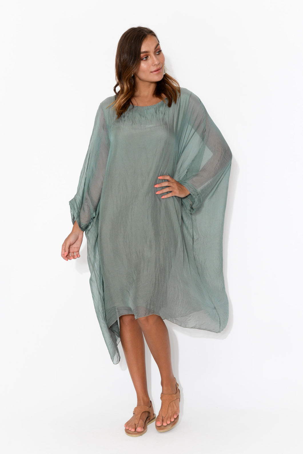Clio Sage Silk Layer Dress