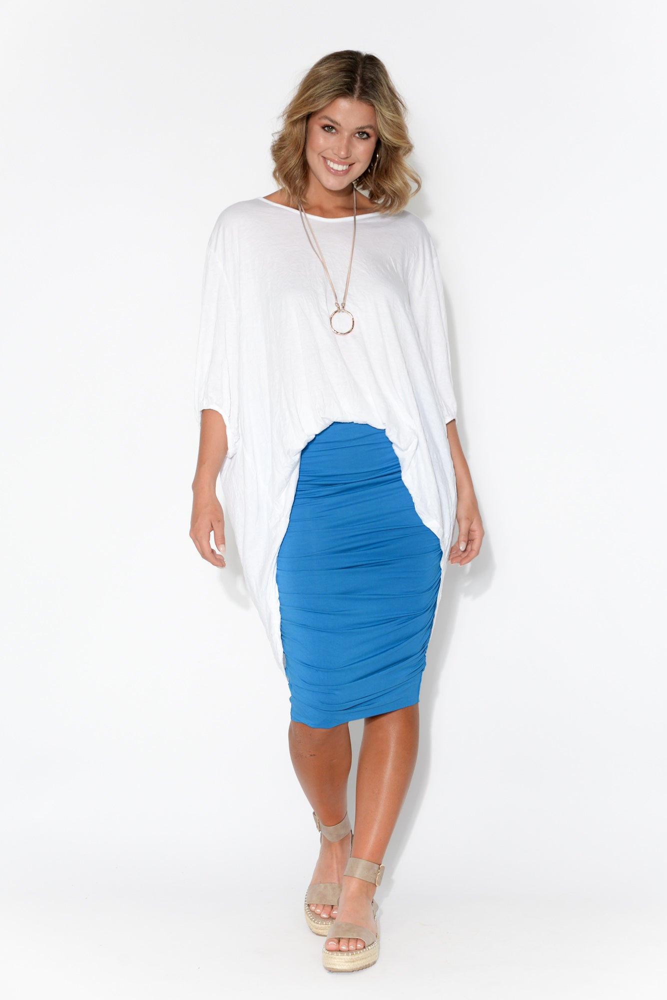 Cobalt Bamboo Ruched Skirt