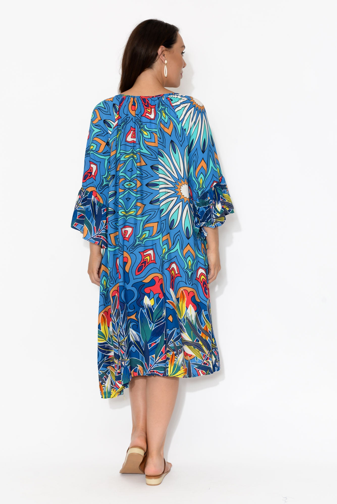 Cobalt Abstract Bell Sleeve Dress