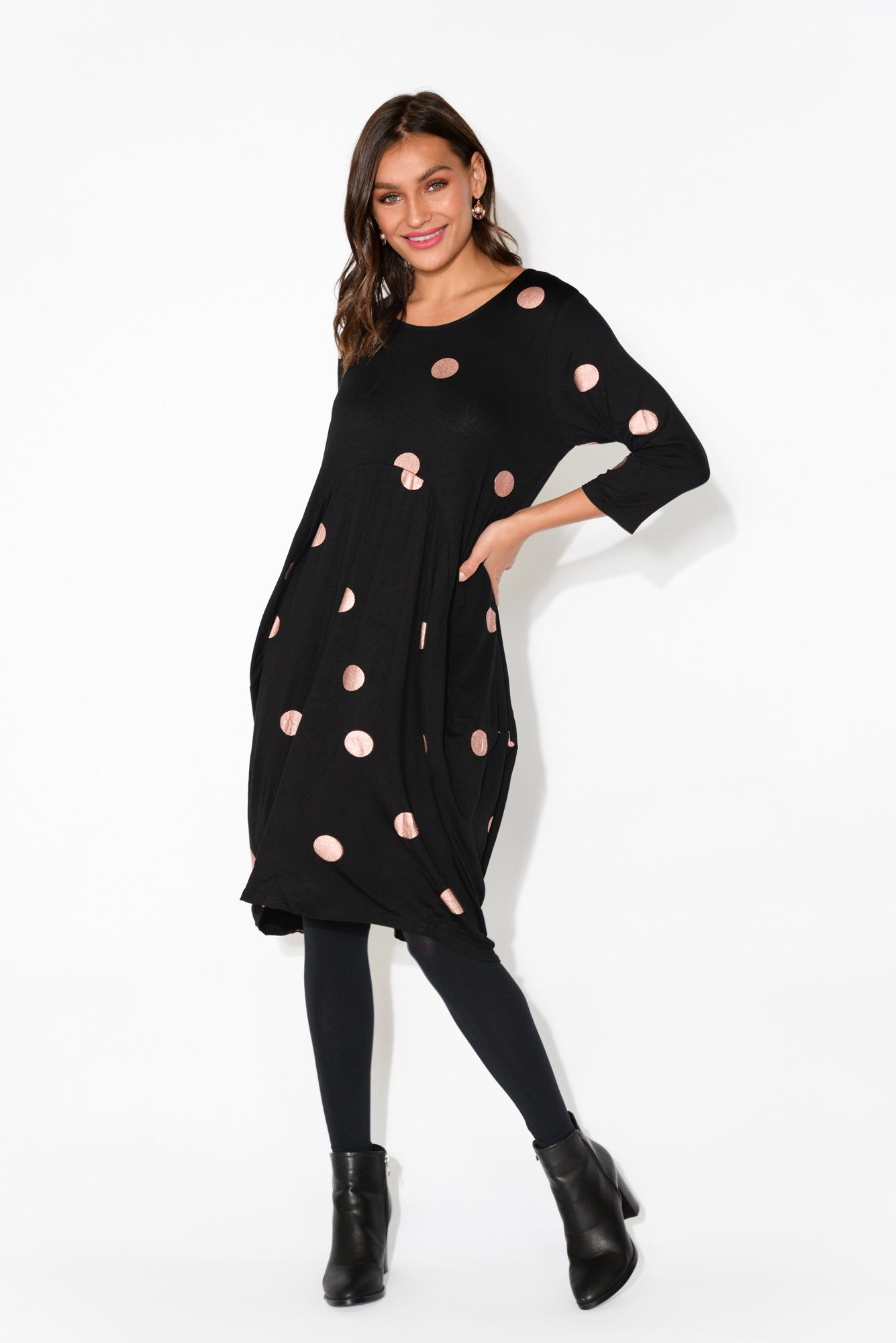 Coco Black Spot Sleeved Dress