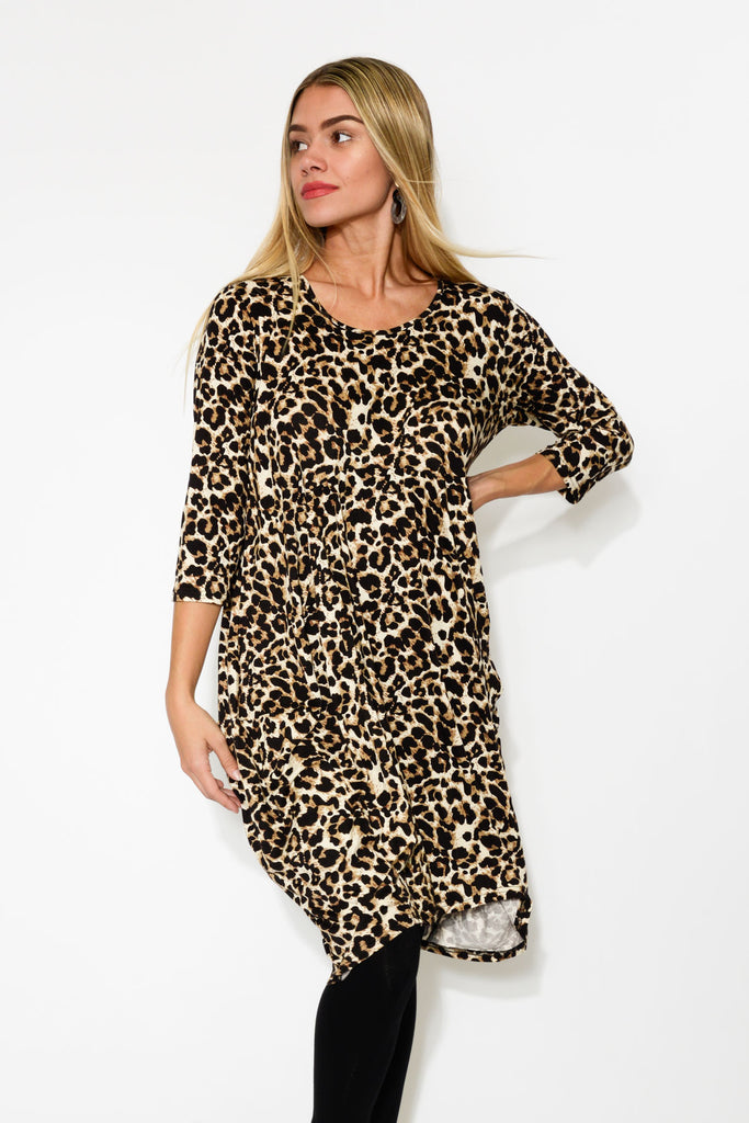 21602dace633 Coco Brown Leopard Sleeved Dress