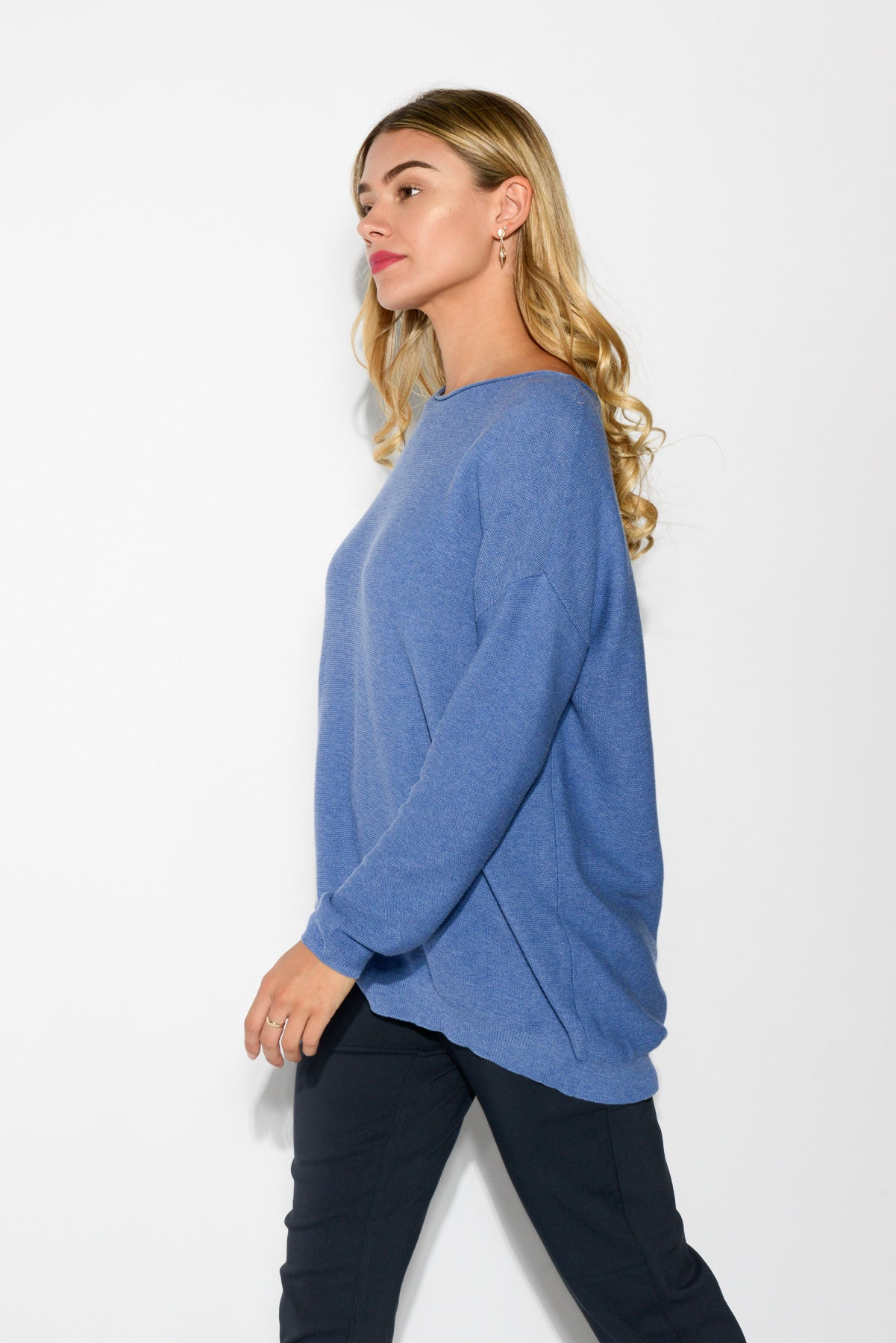 Cora Blue Knit Cotton Jumper - Blue Bungalow