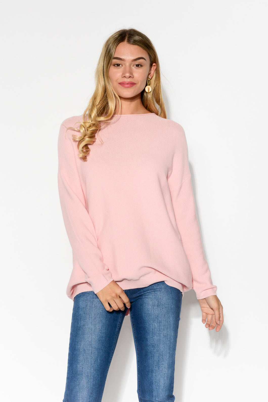 Cora Pink Knit Cotton Jumper - Blue Bungalow