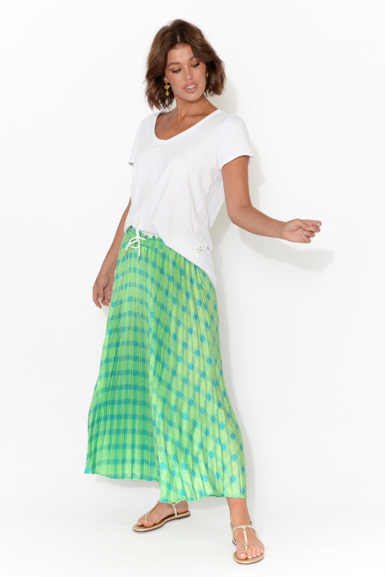 Corina Green Pleat Midi Skirt