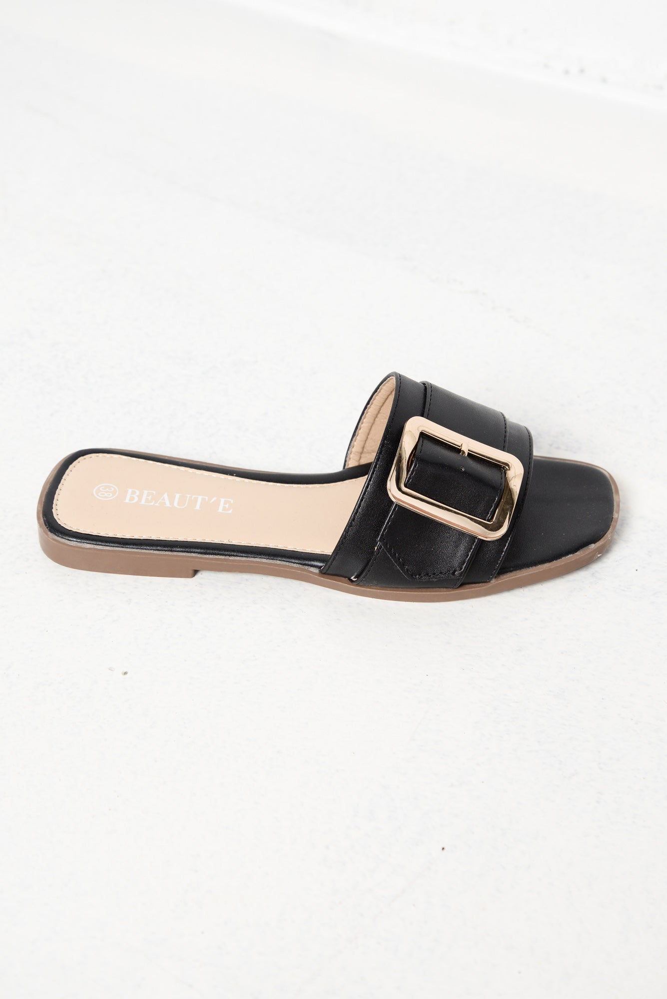 Cory Black Buckle Slide