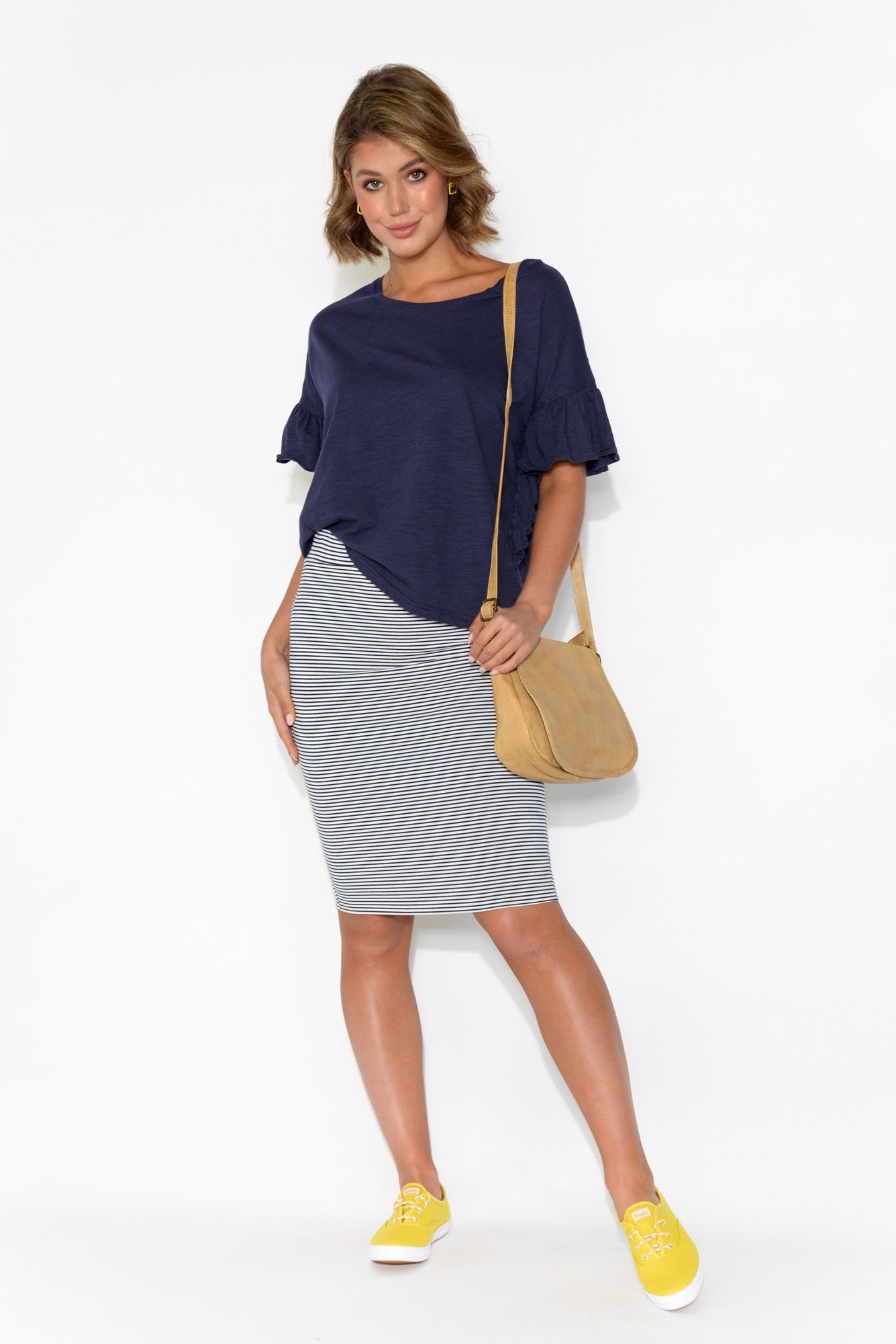 Navy Stripe Bamboo Double Layer Skirt