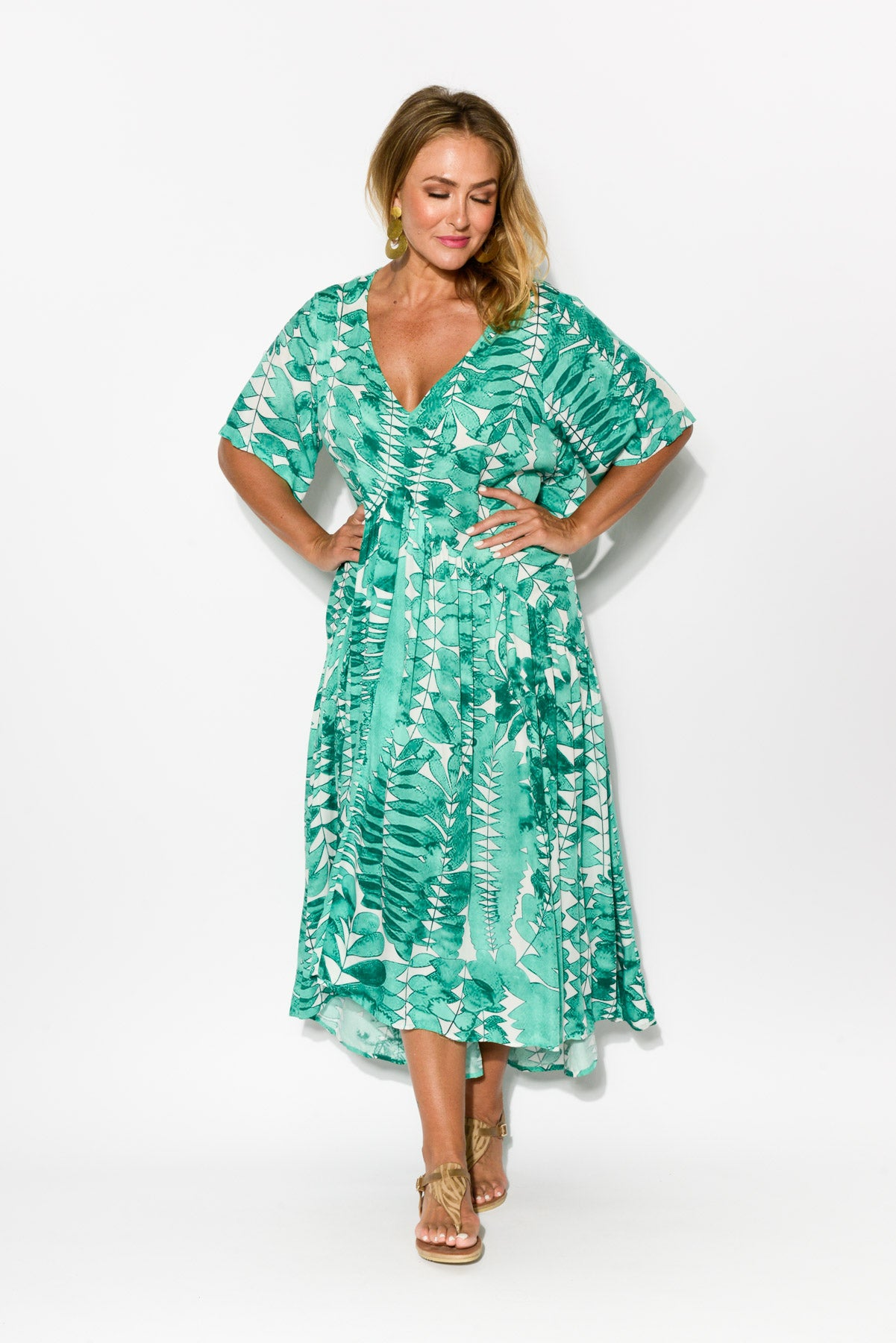 Palatial Green Peak Maxi Dress - Blue Bungalow