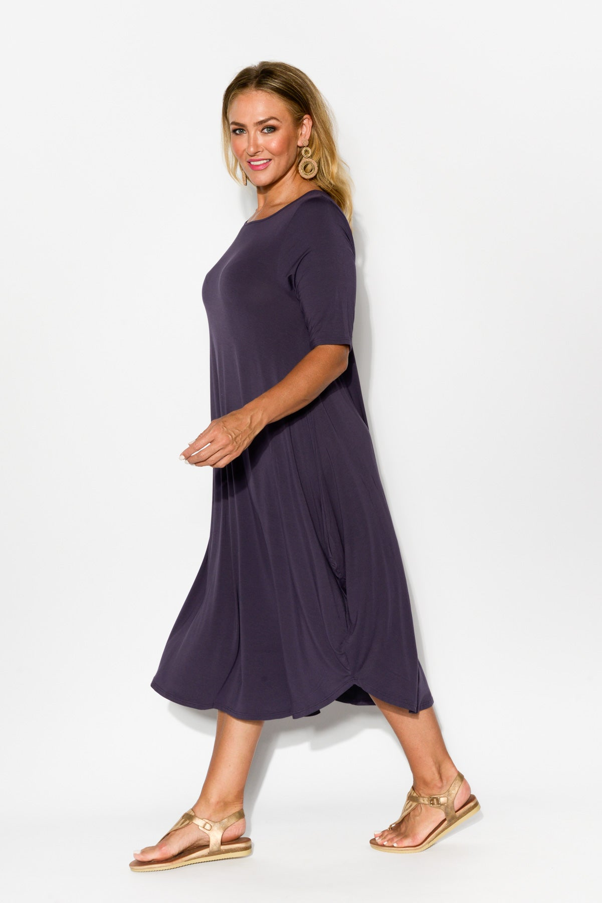 Purple Modal Tri Drape Dress - Blue Bungalow