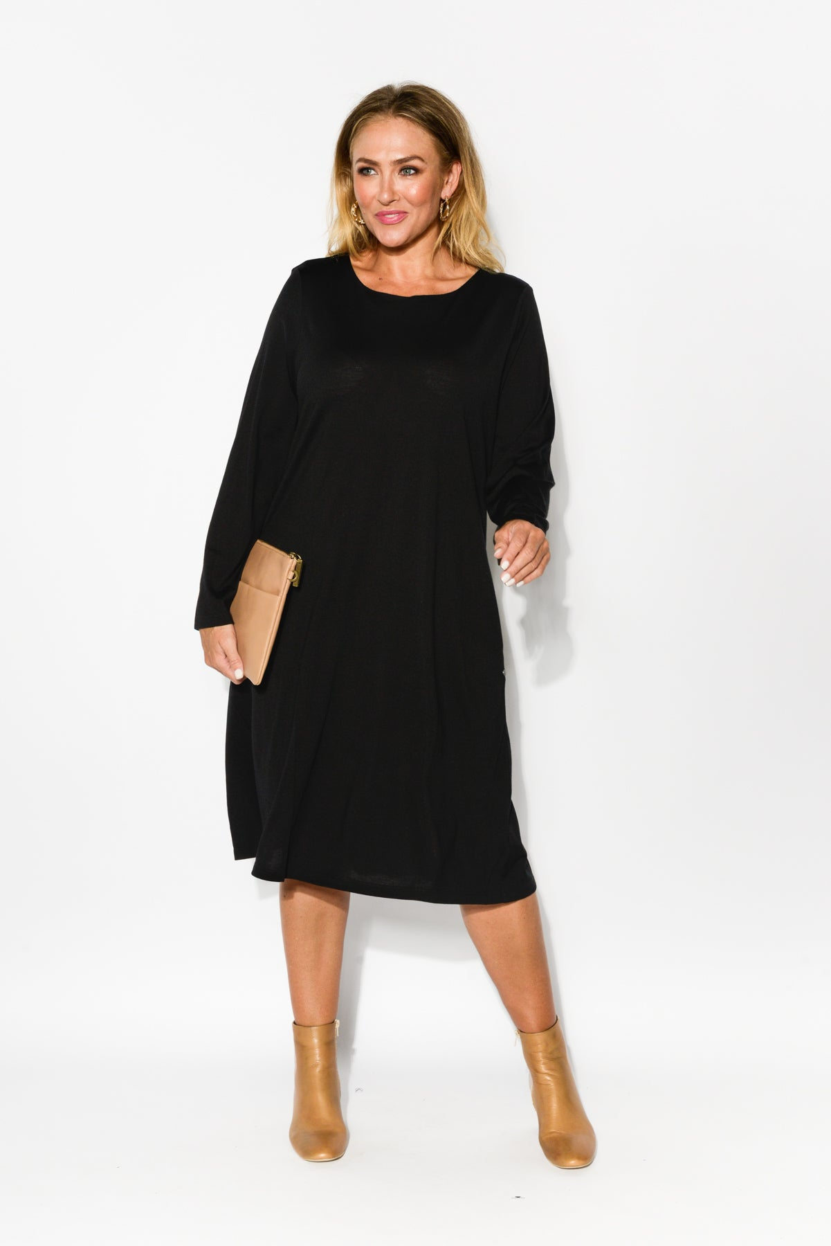 Vanity Black Merino Wool Swing Dress - Blue Bungalow