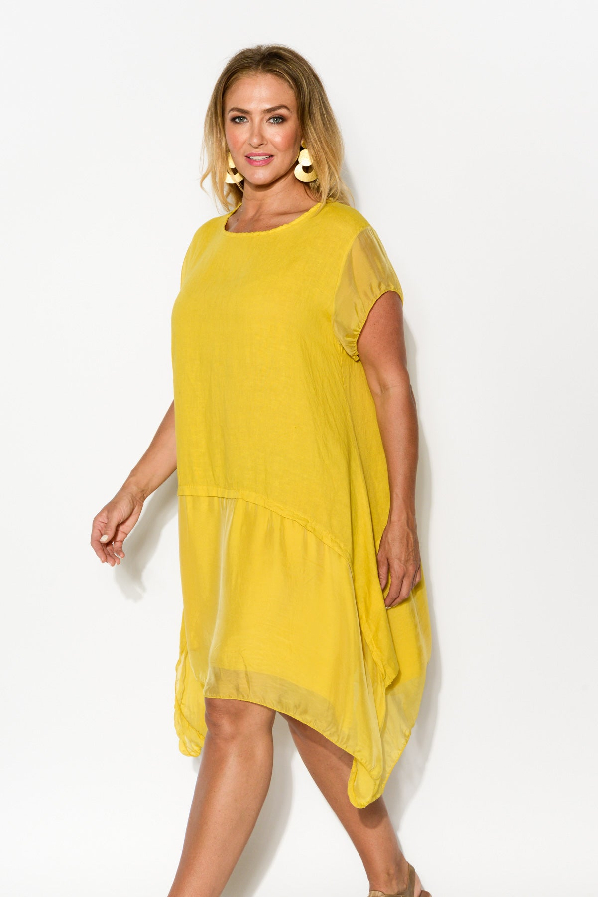 Yellow Silk Layer Linen Dress - Blue Bungalow