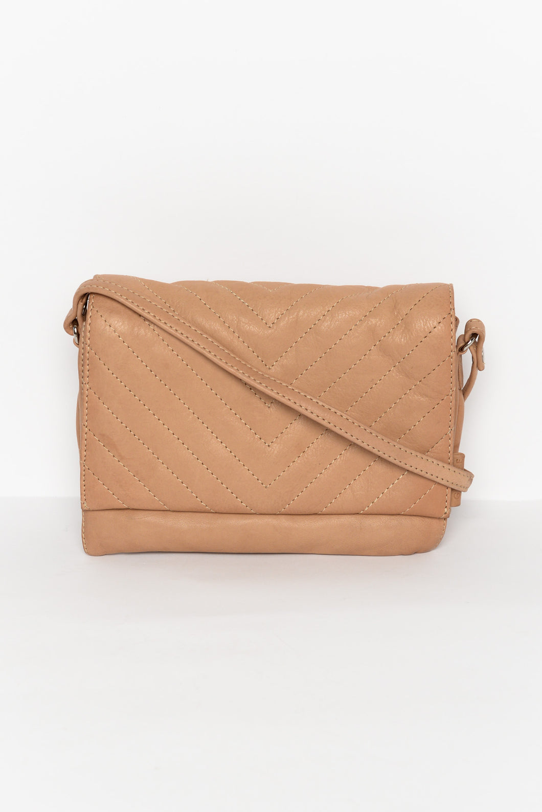 Dallas Beige Quilted Leather Bag