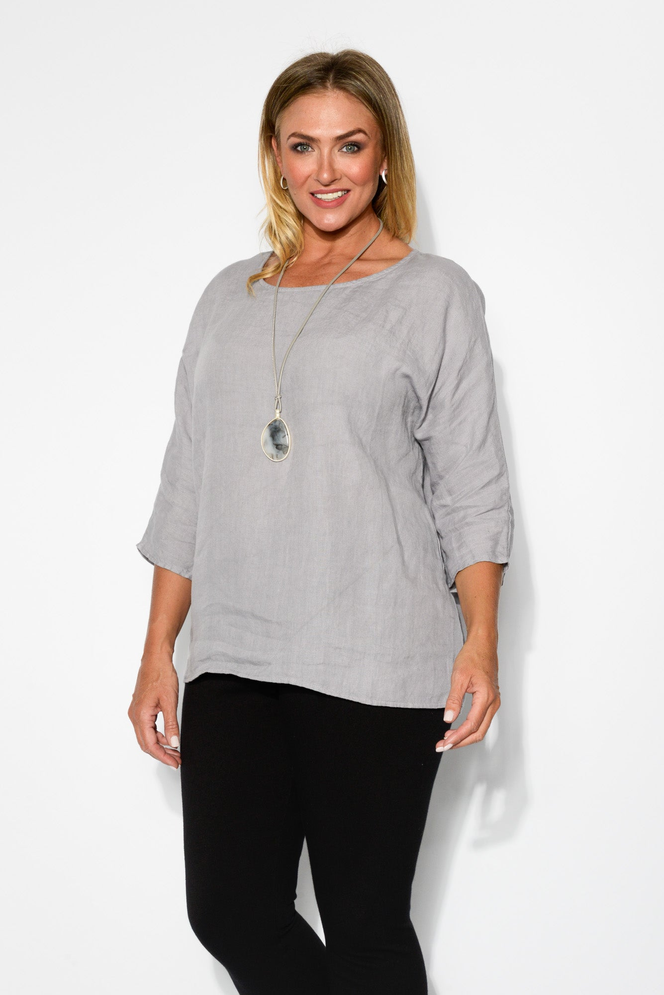 Dara Light Grey Linen Top - Blue Bungalow