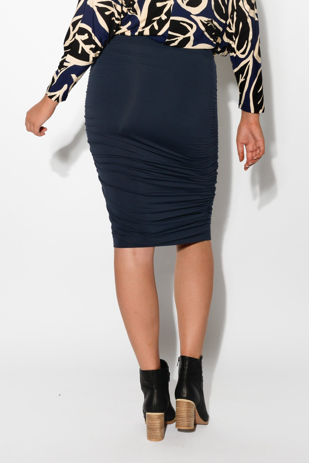 Dark Navy Bamboo Ruched Skirt - Blue Bungalow