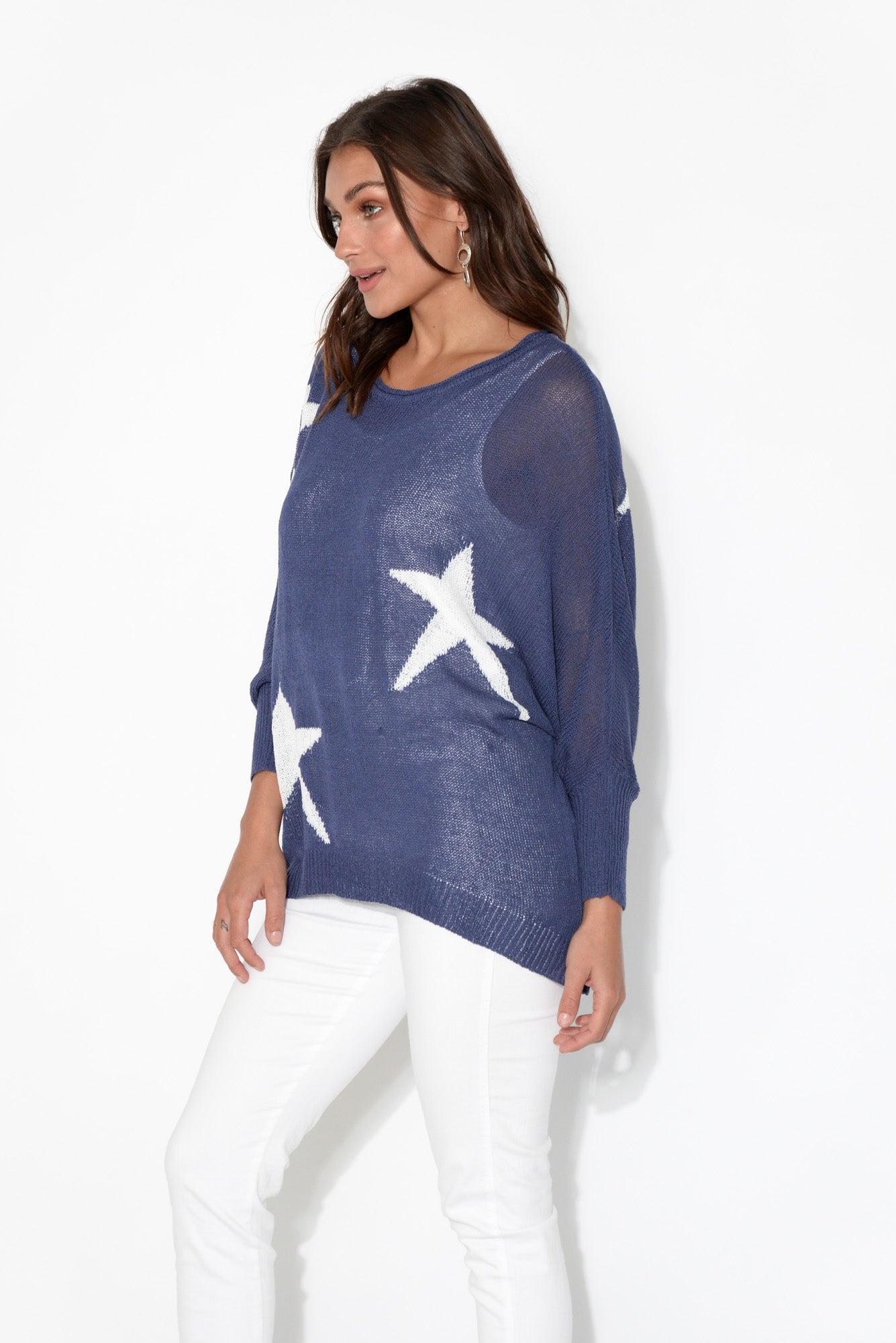Dawn Navy Long Sleeve Star Top